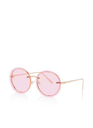Round Floating Lens Sunglasses,PINK,large