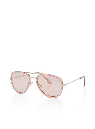 Colored Frame Aviator Sunglasses,BLUSH,large