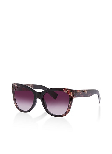 Floral Frame Sunglasses,BLACK,large