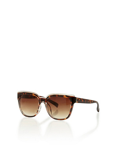 Two Tone Plastic Tortoise Shell Sunglasses,CREAM,large