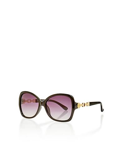 Plastic Frame Sunglasses with Multi Textured Hinge,BLACK,large