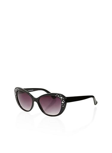 Vintage Cat Eye Sunglasses with Rhinestone Detail,BLACK,large