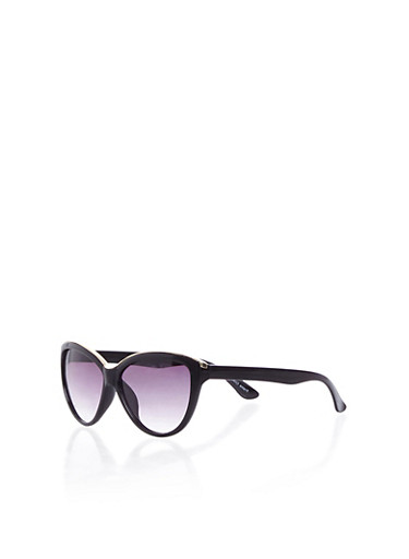 Cat Eye Sunglasses With Top Metal Accent,BLACK,large