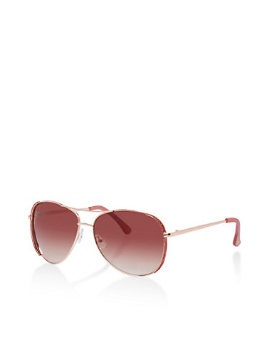 Glitter Side Aviator Sunglasses with Metallic Top Bar,ROSE,large