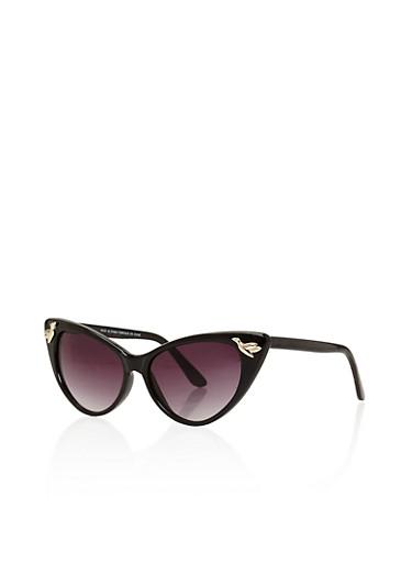 Extreme Cat Eye Sunglasses with Metallic Bird Detail,BLACK,large
