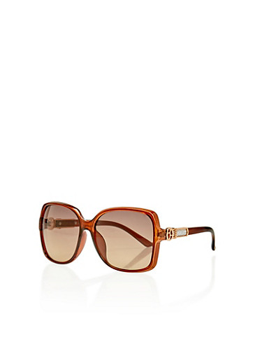 Oversized Square Sunglasses with Glitter Detailed Metal Hinge,BROWN,large