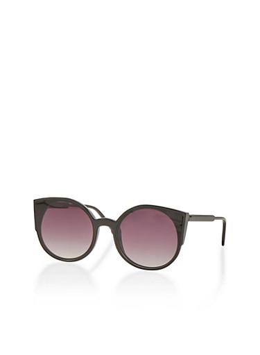 Plastic Cat Eye Sunglasses,BLACK/BLACK,large
