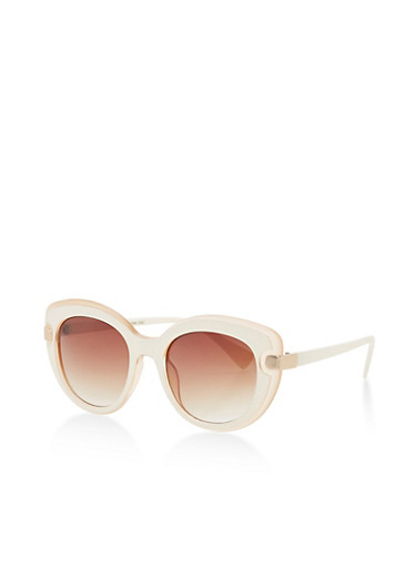 Two Tone Cat Eye Sunglasses,CREAM,large