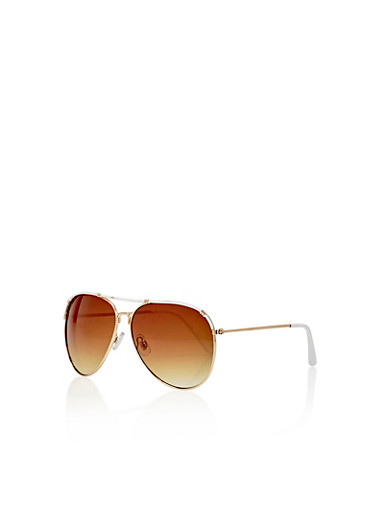 Metal Rim Aviator Sunglasses with Plastic Top Bar,WHITE/GOLD,large