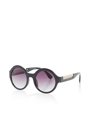 Round Chain Arm Detail Sunglasses,BLACK,large