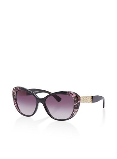 Floral Frame Cat Eye Sunglasses,BLACK,large