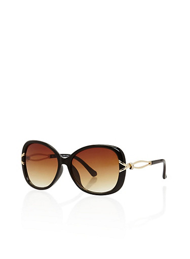 Oversized Plastic Frame Sunglasses with Metallic Cut Out Details,BLACK,large