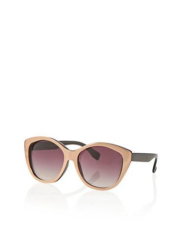 Overlapping Metal Cat Eye Frame Sunglasses,BLACK,large