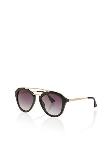 Aviator Sunglasses with Metallic Trim,BLACK,large