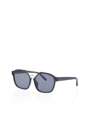 Flat Metal Top Bar Sunglasses,BLACK,large