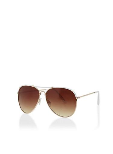 Top Bar Aviator Sunglasses,WHITE,large
