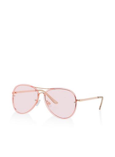 Floating Lens Aviator Sunglasses,PINK/ROSE,large