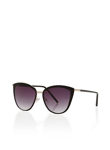 Metal Trim Cat Eye Sunglasses,BLACK,large