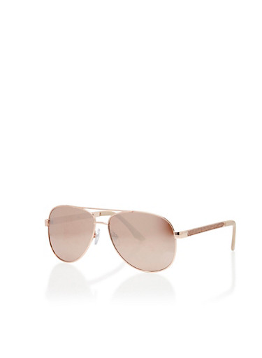 Glitter Arm Top Bar Aviator Sunglasses,ROSE GOLD,large
