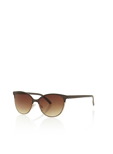 Two Tone Cat Eye Sunglasses,BROWN,large