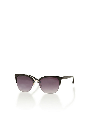 Sunglasses with Contrast Browline,BLACK,large