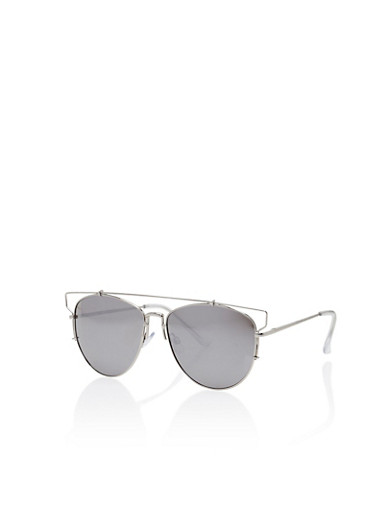 Wire Top Bar Cut Out Sunglasses,SILVER,large