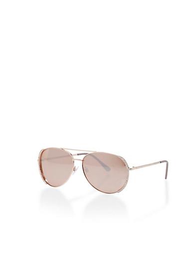 Aviator Sunglasses with Rhinestone Detail,ROSE GOLD,large
