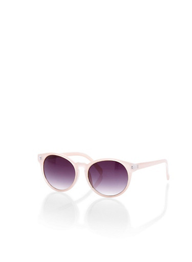 Round Sunglasses With Two Tone Frames,BLUSH,large
