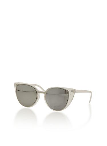 Plastic Frame Cat Eye Sunglasses,WHITE,large