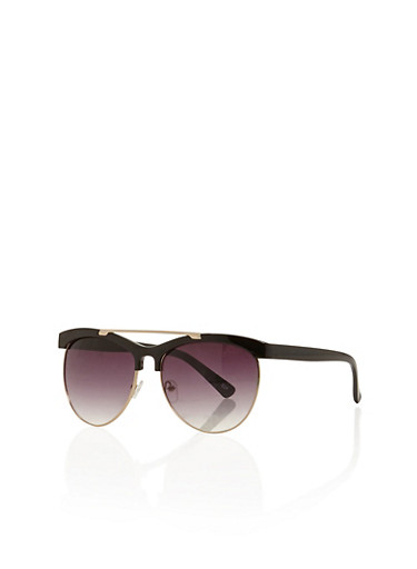 Tinted Sunglasses with Metal Topbar,BLACK,large