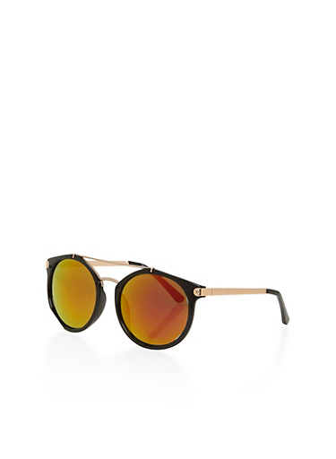 Round Top Bar Sunglasses with Metal Accents,BLACK,large