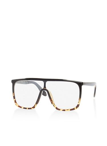 Two Tone Plastic Shield Glasses,BLACK/TORT,large