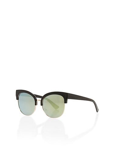 Large Mirrored Circular Sunglasses,BLACK,large