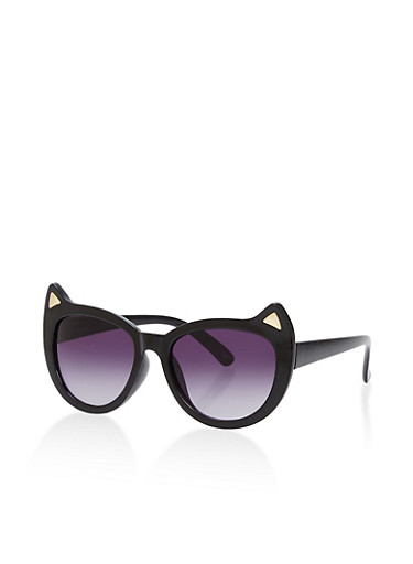 Cat Ear Sunglasses,BLACK,large
