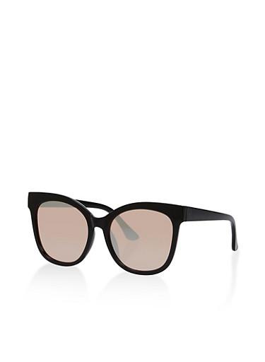Mirrored Metallic Plastic Sunglasses,BLACK/PINK,large