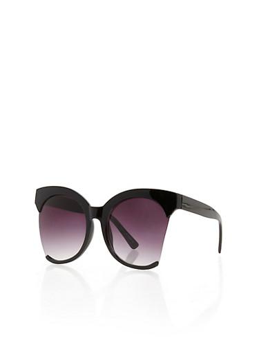 Round Plastic Frame Cut Edge Sunglasses,BLACK,large