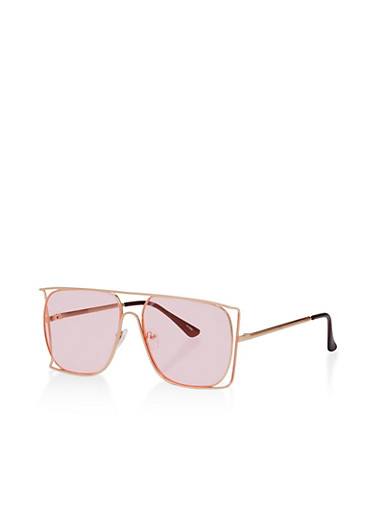 Double Frame Sunglasses,PINK/GOLD,large