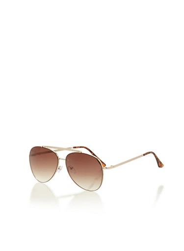 Textured Brow Bar Aviator Sunglasses,BROWN/GOLD,large