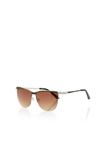 Semi Frameless Clubmaster Sunglasses,BLACK,large