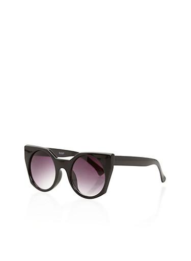 Thick Rimmed Geometric Sunglasses,BLACK,large
