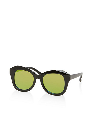 Mirrored Geometric Sunglasses,BLACK,large