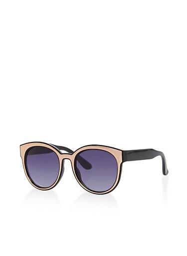 Metal Trim Sunglasses,BLACK,large