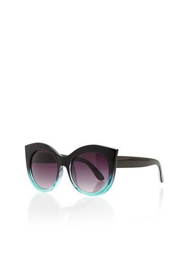 Tinted Thick Frame Cat Eye Sunglasses,BLACK,large