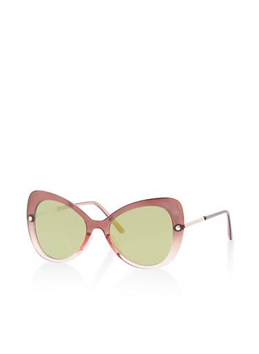 Mirrored Lens Cat Eye Sunglasses,WINE,large