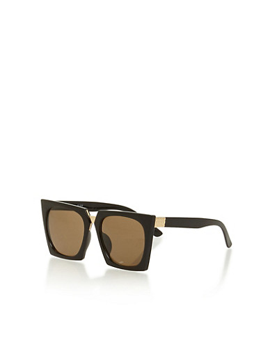 Thick Framed Geometric Sunglasses,BLACK,large