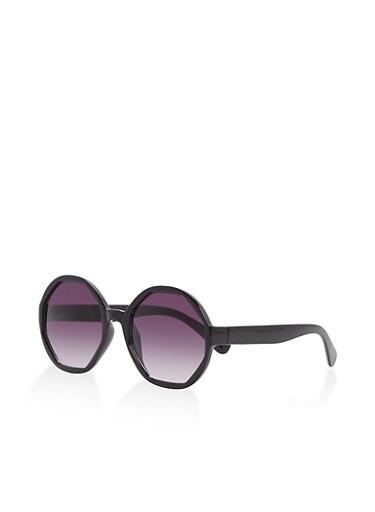 Plastic Octagon Sunglasses,BLACK,large