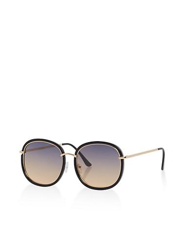 Double Frame Square Sunglasses,BLACK/DARK OCEAN,large