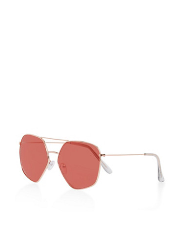 Metallic Top Bar Geometric Sunglasses,ROSE,large