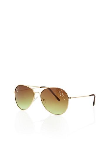 Rhinestone Studded Lens Aviator Sunglasses,BROWN,large