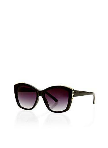 Studded Edge Sunglasses,BLACK,large